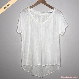 [Velvet] White Oversized High Low V-Neck Blouse